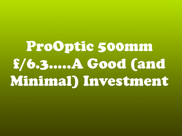 ProOptic 500mm f/6.3…..A Good (and Minimal) Investment
